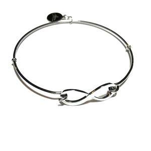 Jilzara Silver Infinity Easy Open Charm Bangle EUC